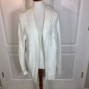 LC Lauren Conrad White Cut Out Open Front Cardigan